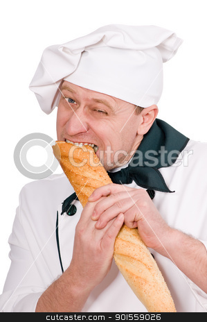 funny chef with loaf stock photo, funny chef eating loaf isolated on white background by Salauyou Yury