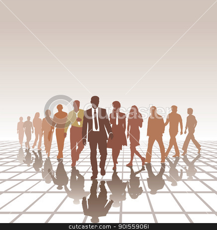 Young team stock vector clipart, vector illustration group young people forming a business team  by Vladim?