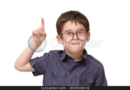 Little boy in round spectacles raising finger in funny attention gesture isolated stock photo, Little boy in round spectacles raising finger in funny attention gesture isolated by Shlomo Polonsky