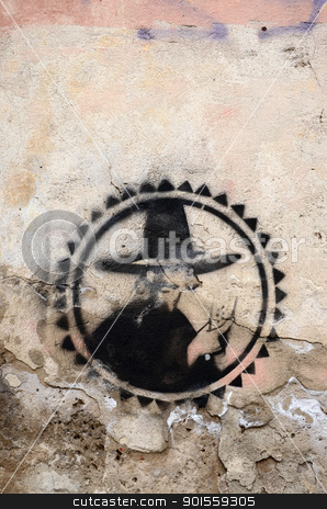 graffiti painted brick wall symbol background  stock photo, Graffiti painted on old brick wall. Interesting black symbol.  by sauletas