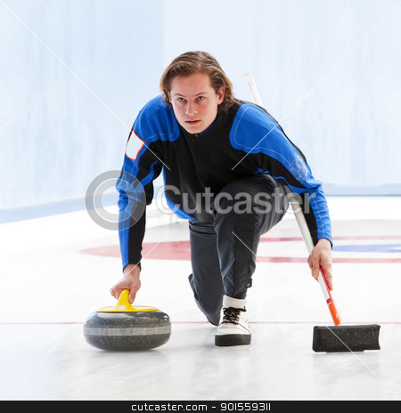 Curling stock photo, Skip, delivering a stone, supporting himself by his broom, and looking at the house in concentration by Corepics VOF
