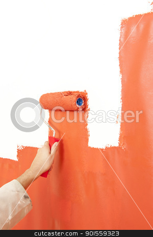 Paint rolling stock photo, Painter painting over a white wall, making it bright organge with a paint roller  by Corepics VOF