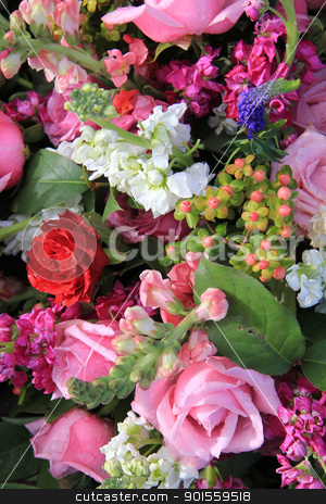 Mixed flower arrangement in bright colors stock photo, Mixed bouquet in bright colors, pink and red roses by Porto Sabbia