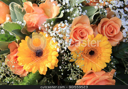 Yellow and orange gerbera and roses stock photo, Flower arrangement with yellow and orange gerberas and roses by Porto Sabbia