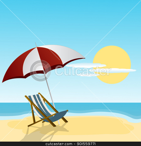 Chaise lounge stock vector clipart, Chaise lounge and umbrella on the beach side. by Richard Laschon