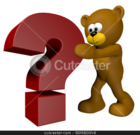 question teddy stock photo, teddy bear is pushing a queation mark - 3d illustration by J?