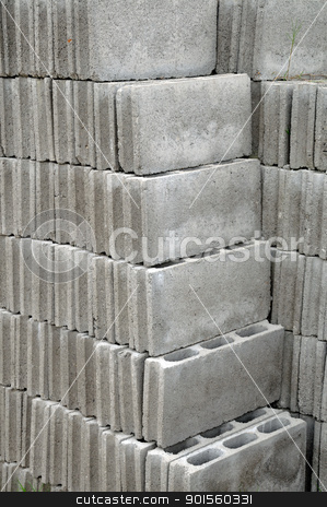Grey bricks stock photo, Grey bricks used for building a house by bigjom