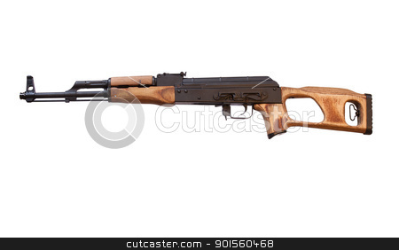 romanian military rifle stock photo, romanian copy of the AK-47 rifle on white with clipping path at original size by digitalreflections