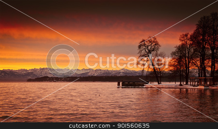Sunrise at Starnberg lake stock photo, An image of a beautiful sunrise at Starnberg lake by Markus Gann