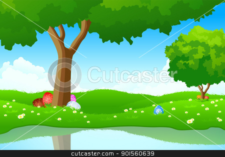 Easter stock vector clipart, Green landscape with Easter eggs in the grass by Vadym Nechyporenko