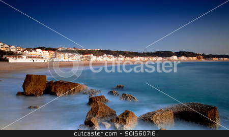 Beach Landscape stock photo, Landscape picture of the beautiful beach from Nazare, Portugal by ikostudio