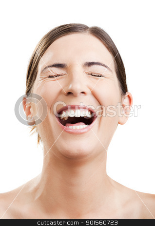 Laughing stock photo, Portrait of a beautiful woman laughing with something very funny by ikostudio