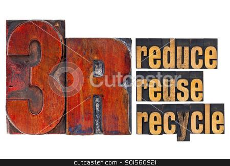 reduce, reuse, recycle - 3R concept stock photo, reduce, reuse, recycle - 3R concept - a collage of isolated words in  vintage letterpress wood type by Marek Uliasz
