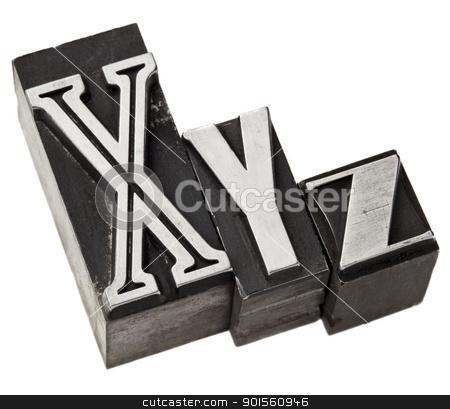 xyz letters in metal type stock photo, xyz - three last letters of alphabet (or Cartesian coordinates system) in vintage letterpress metal type by Marek Uliasz