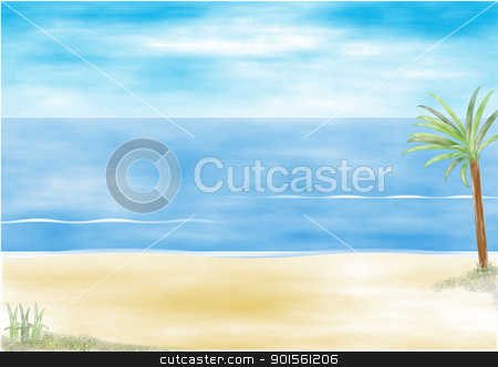 Beach resort stock photo, Beach resort with palm tree illustration by jacqueline moore