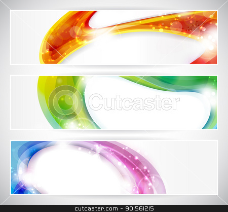 Abstract colorful vecter header set stock vector clipart, Set of abstract colorful web headers made of overlying abstract shapes with light effects. Space for your text, eps10. by Ina Wendrock