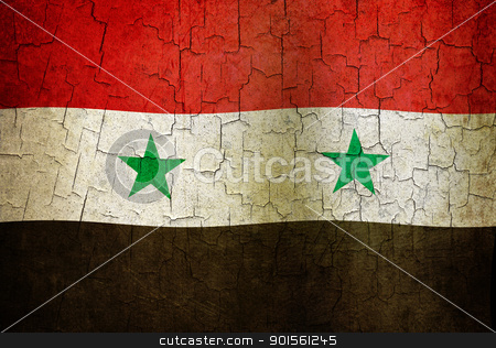 Grunge Syria flag stock photo, Syrian flag on a cracked grunge background by steve ball