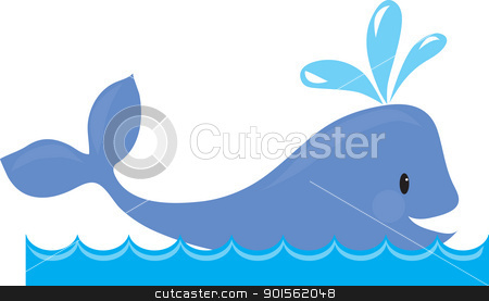 Whale stock vector clipart, A simple design of a whale spouting, while swimming in the sea. by Maria Bell