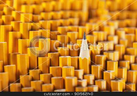 Standing out stock photo, One sharpened pencil among many blunt ones. by Stocksnapper