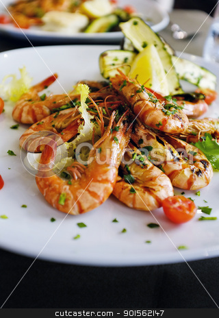 Shrimps stock photo, Whole grilled fresh shrimps and vegetables served on a osteria restaurant in Venice, Italy by Stocksnapper