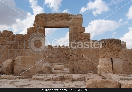 Stone entrance and wall of ruined ancient temple stock photo, Stone entrance and wall of ruined ancient synagogue  by Shlomo Polonsky