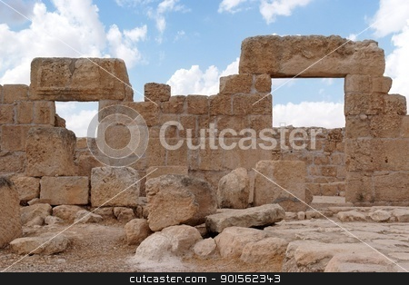 Double stone entrance to ruined ancient temple stock photo, Double stone entrance to ruined ancient synagogue  by Shlomo Polonsky