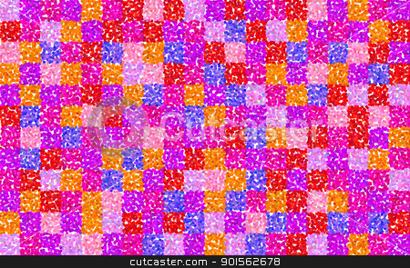 floral grid squares stock photo, matrix of squares filled with pink red and orange petal shapes by Stephen Gibson