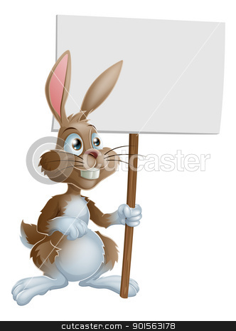Rabbit holding sign cartoon illustration stock vector clipart, Cute bunny rabbit cartoon character holding up a sign post illustration