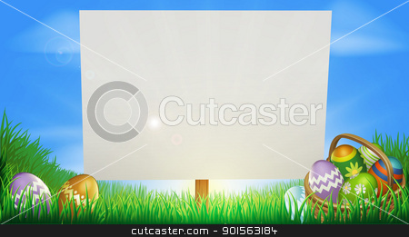 Easter background stock vector clipart, Easter background sign in middle of field with Easter eggs and basket by Christos Georghiou