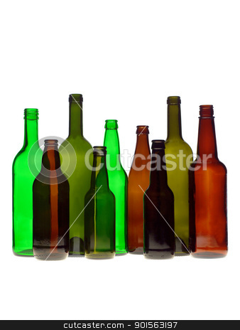 Group of bottles stock photo, Group of bottles isolated on white background by Anne-Louise Quarfoth