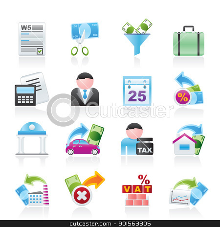 Taxes, business and finance icons  stock vector clipart, Taxes, business and finance icons - vector icon set by Stoyan Haytov