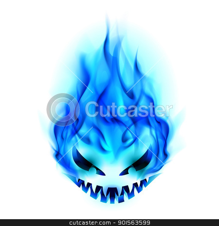 Halloween symbol stock photo, Blue Evil burning Halloween symbol. Illustration on white background by dvarg