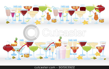 Horizontal cocktail borders stock vector clipart, Vector illustration of cocktail borders horizontal