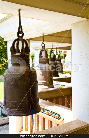 Old bells in a buddhist temple of Thailand stock photo,  by Lavoview
