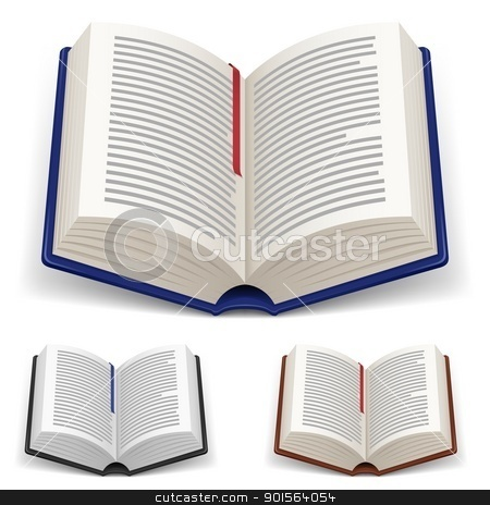 Open Books stock photo, Open Books With Red and Blue Bookmark on White Background  by dvarg