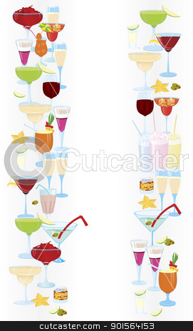 Vertical-cocktail-borders stock vector clipart, Vector illustration of cocktail borders vertical  by Zebra-Finch
