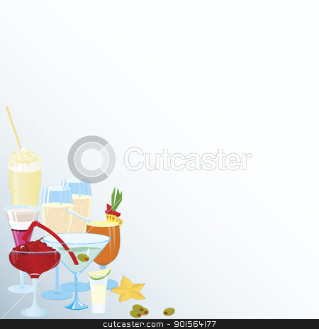 Corner-martini-cocktail-borders stock vector clipart, Vector illustration of cocktail corner decoration element