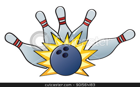Bowling Strike stock vector clipart, A bowling ball hitting the pins for a strike. by Jamie Slavy