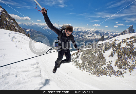 leap of faith stock photo, mountaineer on a Italian glacier (Mont Blanc Massif, Italian Alps) by vinciber