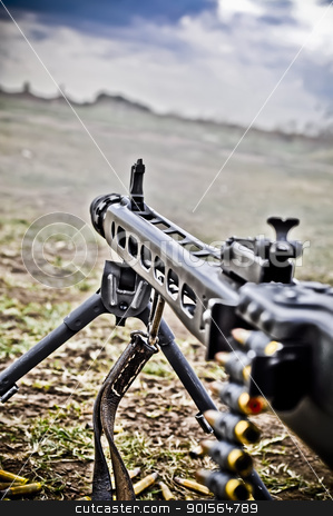 machine gun stock photo, Detail of Machine Gun, World War II style by vinciber