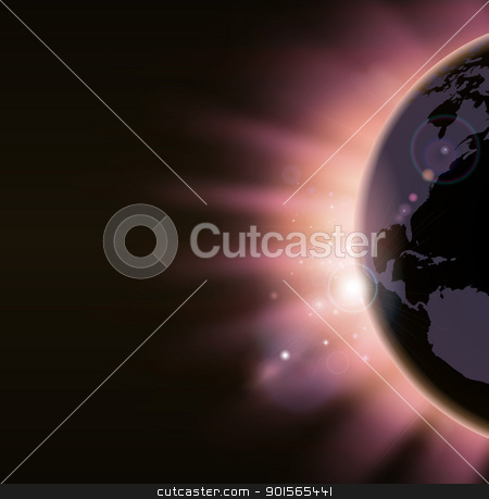 Sunrise concept background stock vector clipart, Light of sunrise appearing over the world globe in warm colors. America side visible. by Christos Georghiou