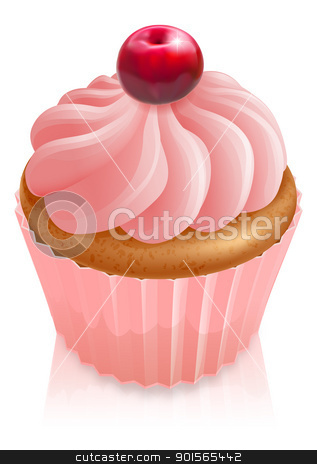 Pink fairy cake cupcake with cherry stock vector clipart, Illustration of a  pink fairy cake cupcake with cherry on top by Christos Georghiou