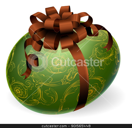 Chic Easter Egg With golden patterns stock vector clipart, Chic wrapped Easter egg with bow and golden floral patterns by Christos Georghiou