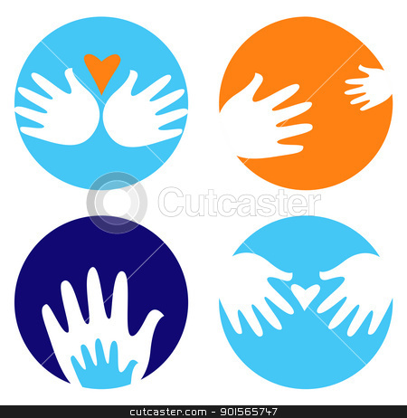 Helpful and carrying hands icons isolated on white stock vector clipart, Hand icons and symbols in circles. Vector by Jana Guothova
