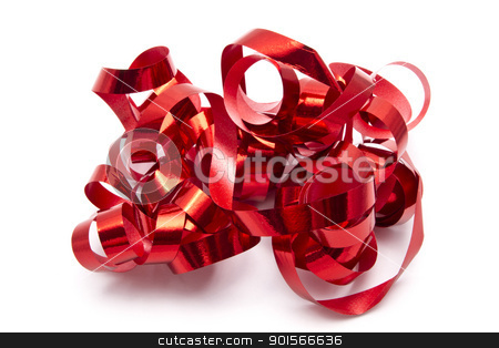 Red ribbon stock photo, Red ribbon closeup on white background   by Ingvar Bjork