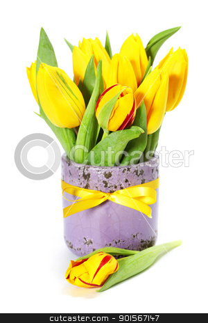 tulips stock photo, yellow tulips in a vase on white by klenova
