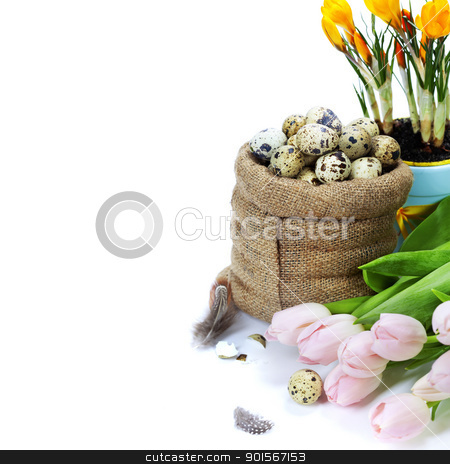 easter composition stock photo, easter composition with eggs and spring flowers on white background by klenova