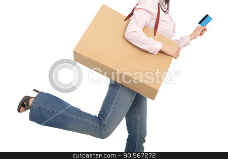 running woman with shopping bag and credit card stock photo, running woman with shopping bag and credit card by tomwang