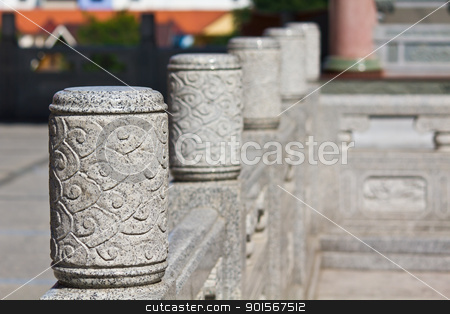 A head of column chinese style stock photo, A head of column chinese style in chinese temple Thailand by Lavoview