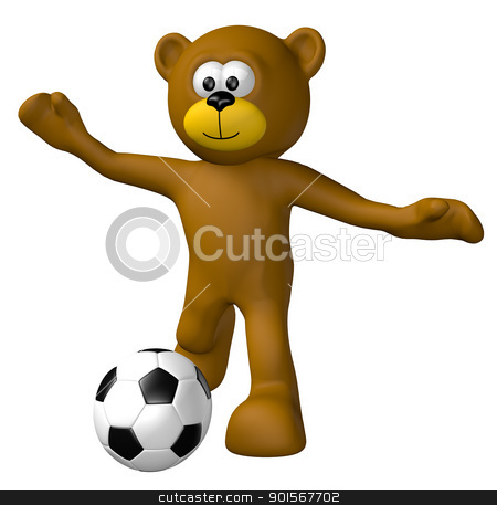 soccer teddy stock photo, teddy bear with  soccer ball - 3d illustration by J?